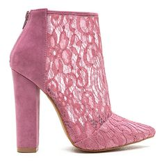 Romantic Summons Chunky Lace Booties ($32) ❤ liked on Polyvore featuring shoes, boots, ankle booties, pink, pink high heel boots, thick heel booties, lace-up booties, faux-fur boots and chunky-heel boots