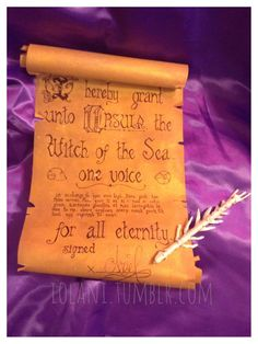 Ursula Contract and Fish Skeleton Pen.  The Little Mermaid - Ursula Ariel Cosplay prop.  NOT ON SALE.