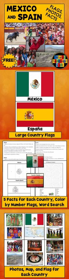 Mexico, Spain Flags, Photos, Interesting Facts, Spanish Speaking Countries Word Search.  Great for lessons about Mexican and Spanish culture.  Hang on the walls for classroom decorations.
