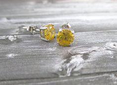 Yellow Topaz Earring Studs, Sterling Silver Lemon Topaz by SimpleGem.
