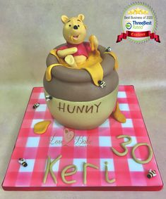 Winnie the Pooh Honey Jar by Love2bake- Oct 2020 Winnie The Pooh Honey, Cake Business, Cake Makers, Novelty Cakes, Homemade Cakes, Cake Ideas, Birthday Cake, Jar, Baking