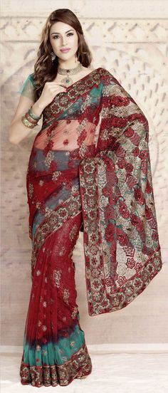 #Red and #Green Net #Saree with Blouse @ $ 50.19