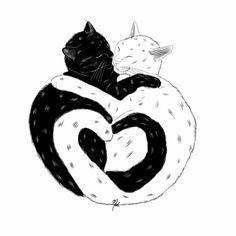 #digitalart #illustration #cats Yin Yang, Digital Art, Batman, Superhero, Cats, Illustration, Fictional Characters, Illustrations, Gatos