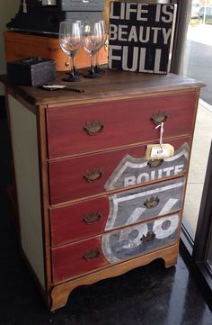 Antique Route 66 dresser