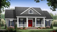 Country Traditional House Plan 59936 1640 square feet with large spaces 3 bedrooms two baths, with large carport/garage.