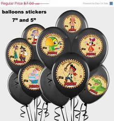 DIY Printable Jake and the Neverland Pirates Balloon Stickers
