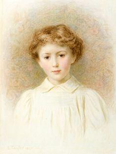 Portrait Of A Child-Edward Tayler (1828 – 1906, Swiss-born English)