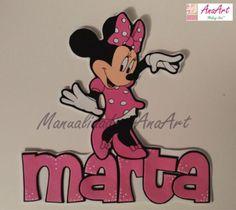 Nombre Minnie Mouse goma eva. Puedes elegir el personaje que más te guste, no solo éstos, puede ser otro que te guste más. Solo tienes que decir cual quieres!. La Minnie mide 26 cm de alto aprox. Es un trabajo realizado por AnaArt.