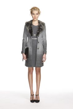#BananaRepublic | #BRHoliday |  Grey faux fur-trimmed ombre coat  Heather grey heritage sweater dress  Grey patent skinny belt  Grey lace eternity pendant  Black leather ipad case  Black lace t-strap pump