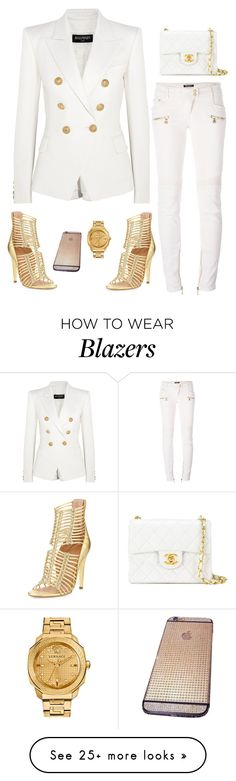 """""""Balmain"""" by owl00 on Polyvore featuring Balmain, Chanel, Sigerson Morrison and Versace"""