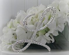 Monogram Wedding Cake Topper Initial Decorated with Swarovski Crystals in Any Letter A B C D E F G H I J K L M N O P Q R S T U V W X Y Z