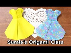 Origami - (one-piece) Dress / 종이접기 - 원피스, 드레스 Origami Paper Art, Diy Origami, Origami Instructions, Origami Tutorial, Bob Mackie, Barbie Furniture, Origami Vestidos, Paper Clothes, Paper Dresses