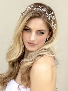 """""""Jessica"""" Pearl or Crystal Vine in Silver or Gold - Bridal Hair Accessories by Hair Comes the Bride"""