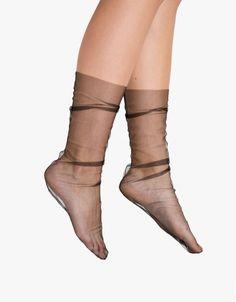 Black Superfine Tulle Sock