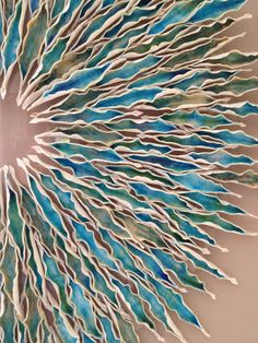 Piece of The Sea Porcelain Wall Art Inspired by nature and tranquil turquoise seas, our Piece of The Sea medallion bursts with life, color and motion. Meticulously designed by Syra Gomez and handc Ceramic Wall Art, Ceramic Pottery, Ceramic Wall Lights, Sculptures Céramiques, Sculpture Art, Cerámica Ideas, Art Pierre, Keramik Design, Pottery Sculpture