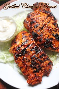 Spicy Grilled Chicken Breast with Step by Step Pictures. Grilled Chicken Breast is easy and juicy chicken breast. Grilled Chicken Breast Recipes, Perfect Grilled Chicken, Spicy Grilled Chicken, Bbq Chicken, Baked Chicken, Chicken Bacon, Grilled Meat, Recipe Chicken, Tasty