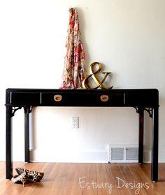 Hollywood Regency style desk makeover from Estuary Designs. #blackandgold #EstuaryDesigns #desk