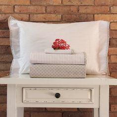 Juego de sábanas de 200 hilos Basic Diseño Rayitas beige