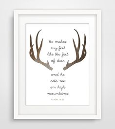 Psalms Quote Print, Deer Antlers - Instand Download - Christian Bible Verse, Modern Wall Art - Multiple Sizes on Etsy, $5.00