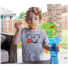 Disney Inspired Mickey Mouse w/Pants & Name Toddler T-Shirt for boys