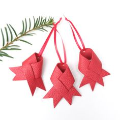 Leather Christmas ornaments  Red leather ornaments  by VankDesign