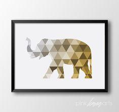 Elephant Wall art Geometric elephant Home decor by PinkLemonArts
