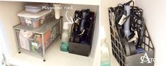 Practical Bathroom Cleaning + Organizing Tips: Magazine Rack to Hold Curling Irons, Hair Dryers, etc. [Andrea Arch]