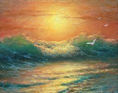 Playful Waves 6x 6 original oil painting от vladimirmesheryakov