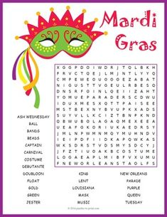 Celebrate Mardi Gras in the classroom with our fun printable word search activity.  This puzzle worksheet has 23 hidden vocabulary words to look for.  Would also work well as a party game.