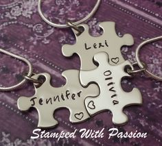 Puzzle Piece Necklace Set - Hand Stamped personalized stainless steel - Best friends - Sorority sisters - sisters - Besties -
