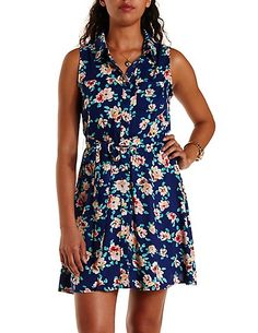 Floral Print Sleeveless Shirt Dress: Charlotte Russe