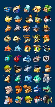 iOS on Behance Fish Cartoon Drawing, Cartoon Fish, Cartoon Drawings, Game Character Design, Game Design, Underwater Cartoon, Drawn Fish, Species Of Sharks, 2d Game Art