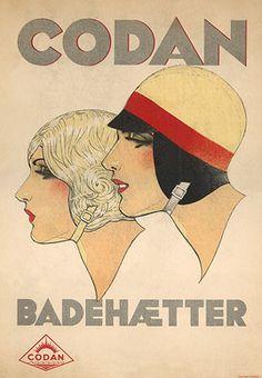 Advertising by Sven Brasch, 1930's, Codan Badehætter (Codan Bathing Caps). (Danish)
