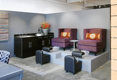 Pedicure Stations - gorgeous chairs and pillows.