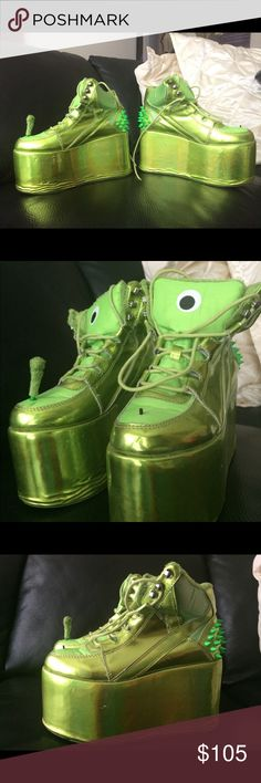 """YRU green alien platforms shoes Y.R.U. Qozmo Hi Alien Platforms are out of this world! These super exXxclusive intergalactic platforms feature an all over holographic finish that you can see all the way from space and the 4"""" heel and the 3"""" platform will keep yer head in the stars. With rows of sik spines on the heels With a mesh lining, you'll be keepin' cool and fresh til E.T. is done callin yer ride home. YRU Shoes Sneakers"""