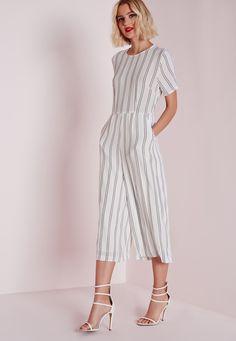 Missguided - Stripe T-shirt Culotte Jumpsuit White