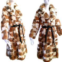 ViNtAgE 70's Patchwork Real Rabbit Fur Coat by MothFoodVintage