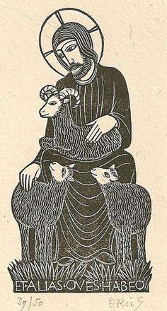 4th Sunday of Easter: Good Shepherd (Bonus Pastor) Eric Gill - The Good Shepherd (1926) wood engraving