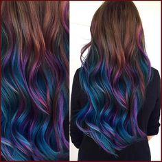 "Salon Sessions #bluehair #purplehair #mermaidhair #longhair #extensions #raindbowhair #haircolor #galaxyhair #wavyhair #hairstyle #hairdieas • To attract a new lover, light a red candle to St. Barbara and ask her to make you attractive to your soulmate. • To keep you on your lover's mind, do this after each time you part ways. Strike a match on the heel of your shoe and say ""Be True."" • To bless your marriage and keep him faithful, serve him cooked cabbage on the new moon of every month. •… Cute Hair Colors, Hair Dye Colors, Ombre Hair Color, Hair Color Balayage, Cool Hair Color, Hair Highlights, Purple Ombre, Peacock Hair Color, Teal And Purple Hair"