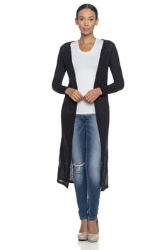 9d83f285020 Solid Ribbed Open-Front Longline Cardigan - BD2120