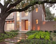 Exterior Design, Contemporary Landscape Design Houston Also Brown Bricks House And Modern Wall Lights Also Modern Balcony And Windows Also B...