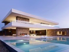 Casas modernas com piscinas home design , architecture , hou Residential Architecture, Contemporary Architecture, Amazing Architecture, Interior Architecture, Luxury Interior, Contemporary Design, Modern House Design, Luxury Modern House, Modern Mansion