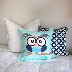 Boy owl scatter cushion with light grey Herringbone and navy blue Circle design cushions - all from Ruby & Me