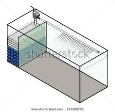 A large aquarium with a built-in filter compartment. - stock vector