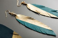 For our next installment of travel-inspired goodness, we turn to the life of the wanderer. Inspired by the Gypsy Wagon Birdhouse you see below, we created a trio of leather feather-shaped earrings, dipped in gold.
