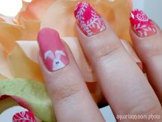Easter Bunny Nail Art Accent is made by #JamberryNails. Show off your nice nails every #ManicureMonday at http://blog.aquariann.com/search/label/manicure%20monday?max-results=3