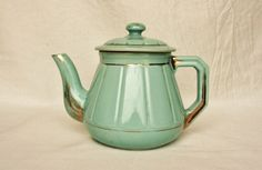 Art Deco teapot, turquoise and gold, mint blue, aqua, French coffee pot, tea pot, French kitchen, antique French pottery, French decor. $42.00, via Etsy.