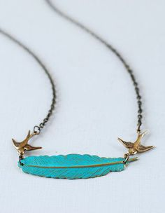 Birds and Feather Necklace