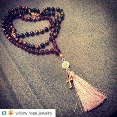 #Repost @willow.rose.jewelry  Brand new hand-knotted mala! #forsale #108 #apatite #amethyst #pyrite #herkimerdiamond #thaisilver #lovetassels #handmade #jewelry #mala #lovegems #ankh #ohm #willowrose #willowrosejewelry