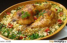 Kuřecí stehna pečená s rýži z jednoho pekáčku No Salt Recipes, Top Recipes, Chicken Recipes, Cooking Recipes, Healthy Recipes, Good Food, Yummy Food, Czech Recipes, Cooking Light